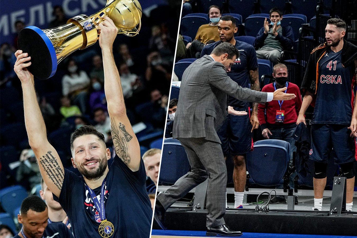 Курбанов праздновал с кубком, Итудис помогал поднимать рекламный щит. Фото победы ЦСКА