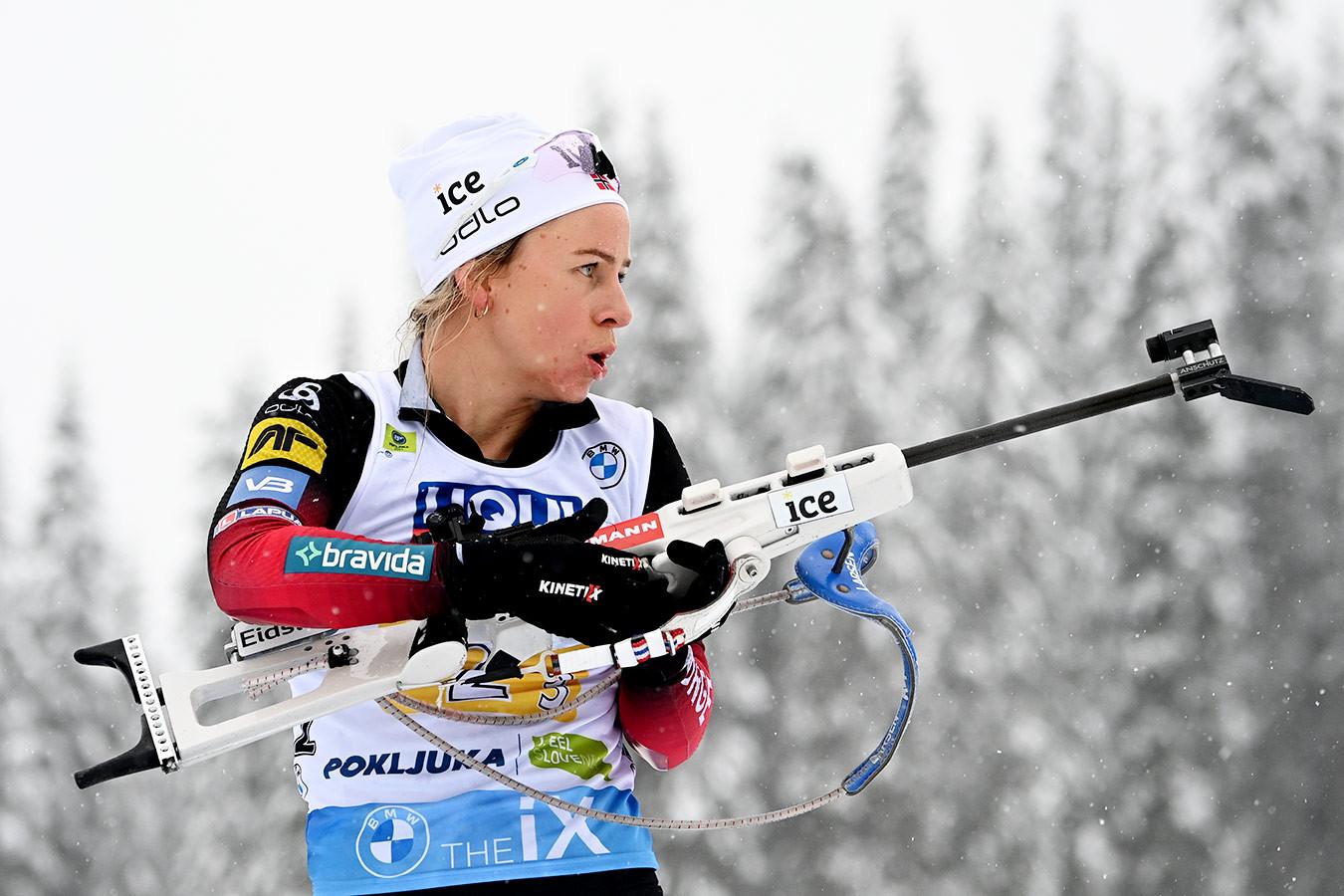 Норвежка Экхофф выиграла спринт на ЧМ по биатлону, Казакевич — 19-я