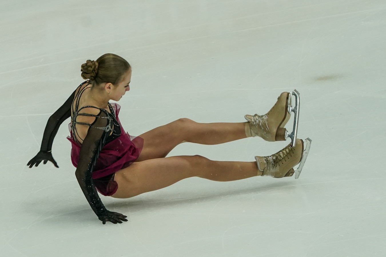Александра Трусова дважды упала в произвольной программе на ЧМ