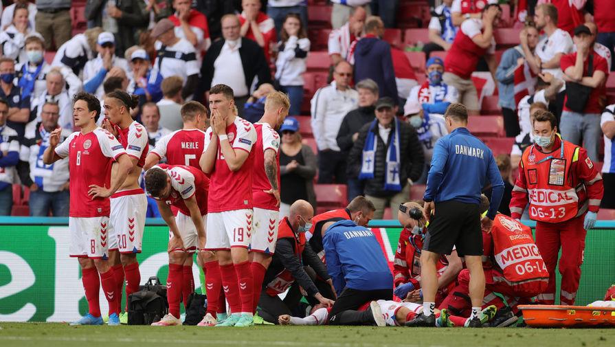Игрок сборной Дании Эриксон потерял сознание во время матча с Финляндией