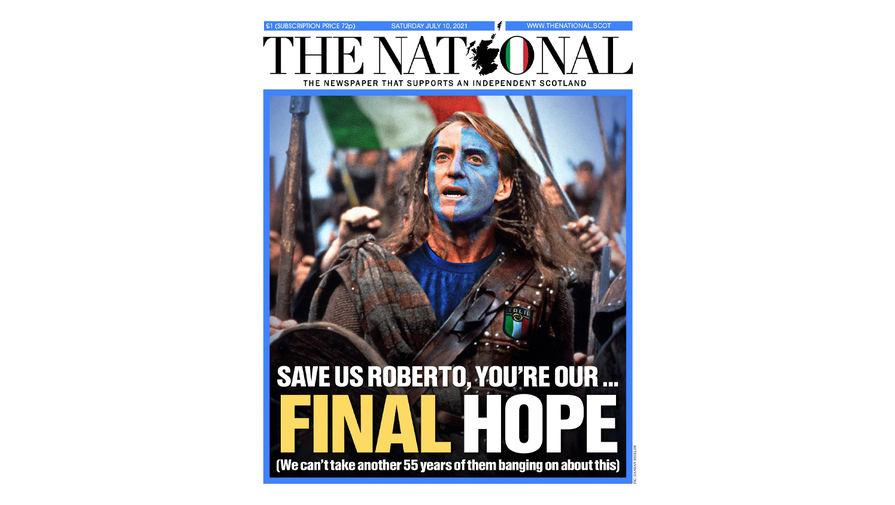 Шотландская газета поддержала Италию перед матчем с Англией в финале Евро