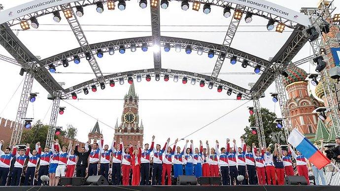 На Красной площади исполнили гимн России в честь олимпийцев