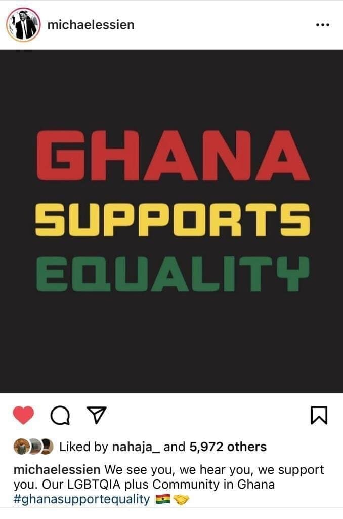 Эссьен удалил пост в поддержку ЛГБТ после шквала критики и оскорблений от сограждан из Ганы