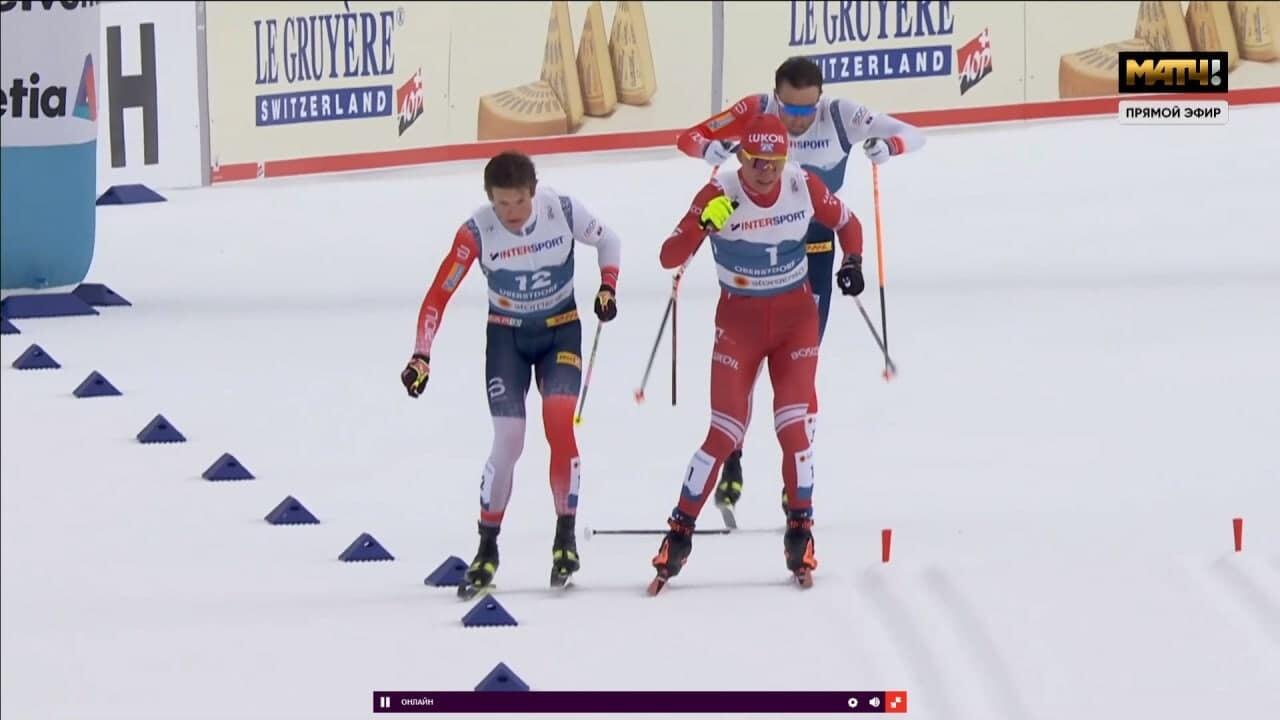 У Большунова и Клэбо был контакт на финишной прямой, Александр сломал палку