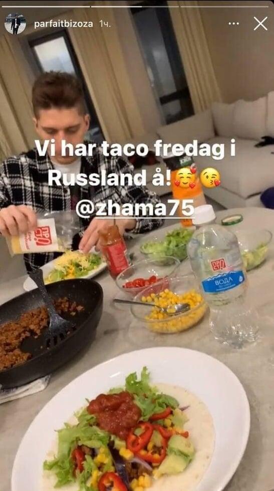 Бизоза устроил вечер тако с Жамалетдиновым: «Это норвежская традиция. Сам все приготовил, я довольно хороший повар. Жама заценил»