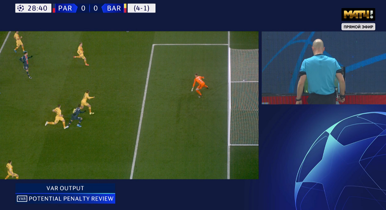 Пенальти в ворота «Барсы» после ВАР был назначен за фол Лангле на Икарди. Мбаппе забил