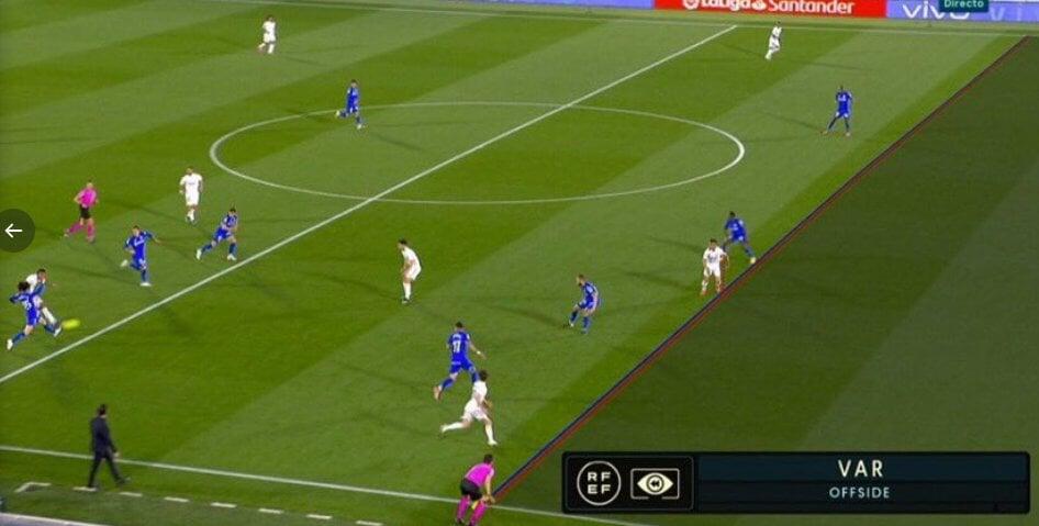 Гол «Реала» в ворота «Хетафе» на 9-й минуте отменили. Арбитры посчитали, что у Диаса был офсайд