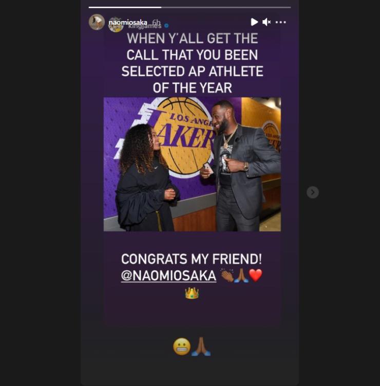Леброн Джеймс поздравил Наоми Осаку с наградой лучшей спортсменке года по версии AP