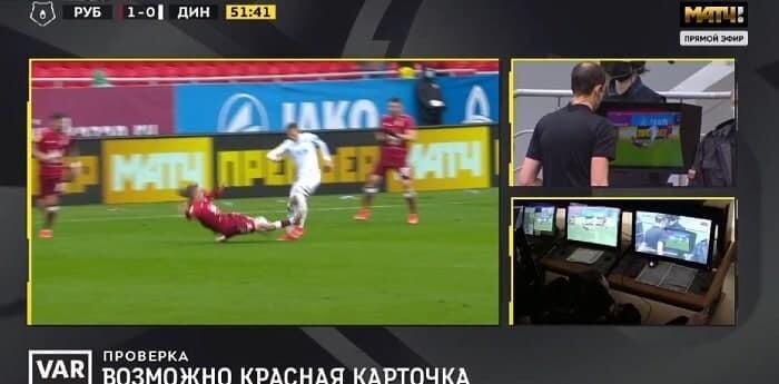Мешков удалил защитника «Рубина» Самошникова после ВАР за подкат в ноги Шиманьскому